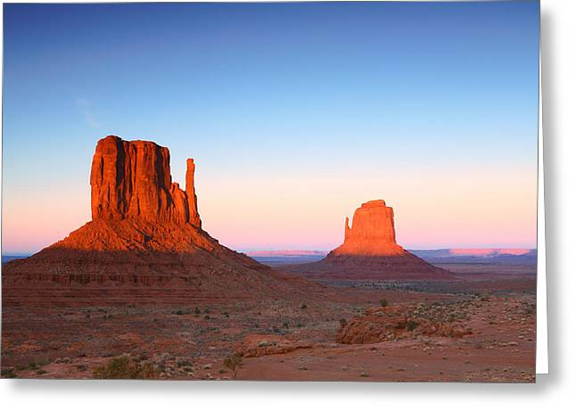Sunset Buttes In Monument Valley Arizona Greeting Card by Katrina Brown