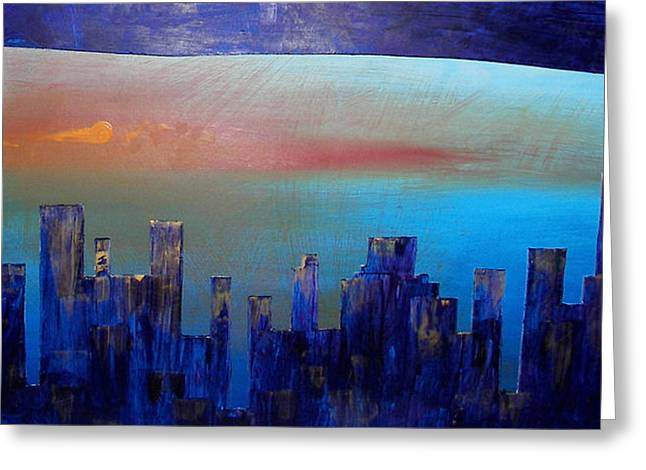 City Reliefs Greeting Cards - Sunset City Greeting Card by Bojana Randall