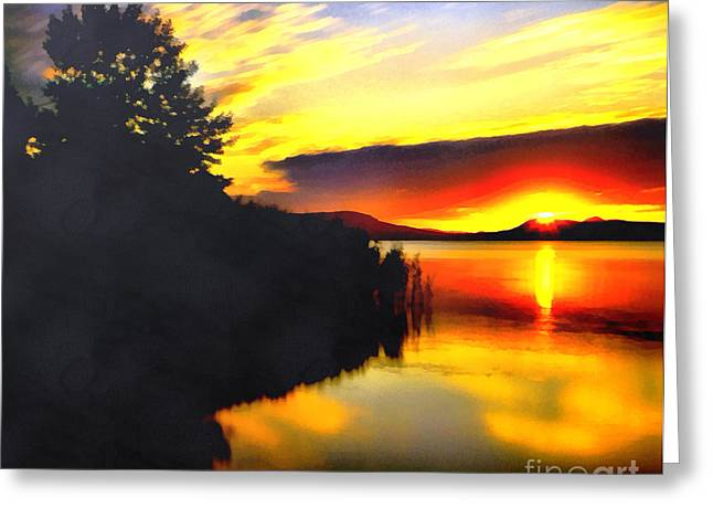 Water Filter Paintings Greeting Cards - Sunset in Balaton lake Greeting Card by Odon Czintos
