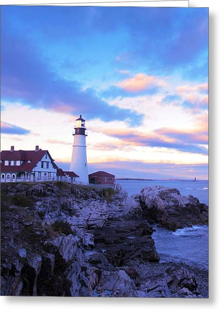 Maine Landscape Greeting Cards - Sunset In Fork Williams Lighthouse Park Portland Maine State Greeting Card by Paul Ge