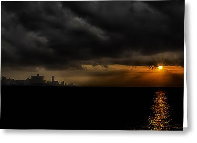 Sunset in Havana Greeting Card by Erik Brede