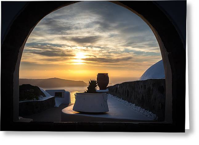 Thirasia Greeting Cards - Sunset in Santorini Greeting Card by Panagiotis Assonitis