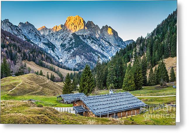 Oberbayern Greeting Cards - Sunset in the Alps Greeting Card by JR Photography