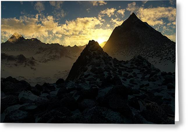 Photorealistic Greeting Cards - Sunset in the Stony Mountains Greeting Card by Hakon Soreide