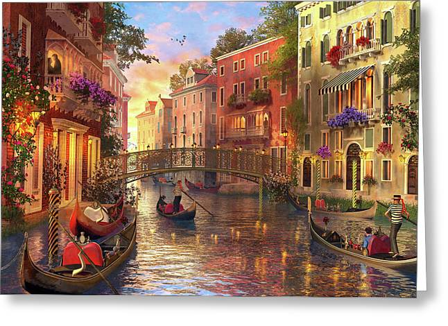 Sunset In Venice Greeting Card by Dominic Davison