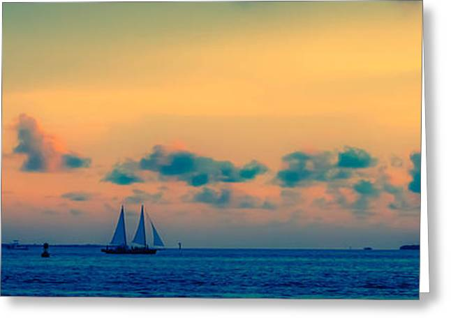 Sailboat Ocean Greeting Cards - Paradise at Sunset Greeting Card by Jerri Moon Cantone