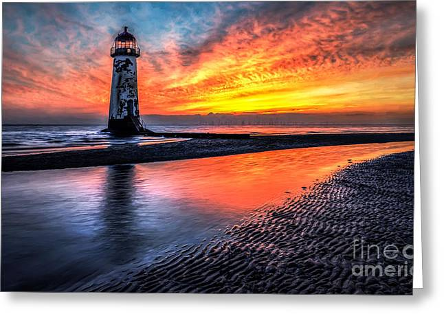 North Wales Greeting Cards - Sunset Lighthouse Greeting Card by Adrian Evans