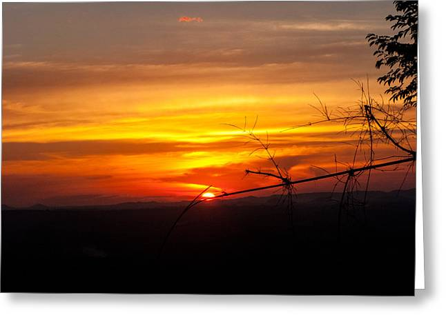 Sunset Greeting Card by Nawarat Namphon