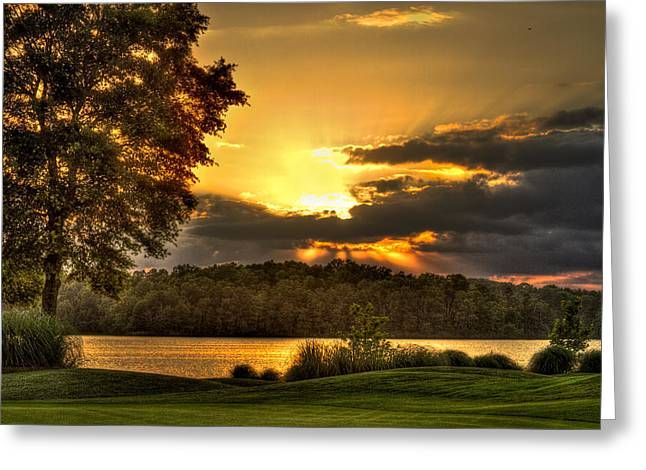 Sunset Golf Hole Lake Oconee Greeting Card by Reid Callaway