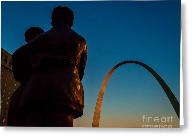 Dred Scott Greeting Cards - Sunset on the Arch Greeting Card by Anne Warfield