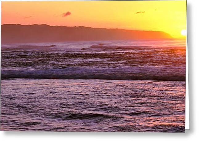 Ocean Photography Greeting Cards - Sunset Over An Ocean, Oahu, Hawaii, Usa Greeting Card by Panoramic Images