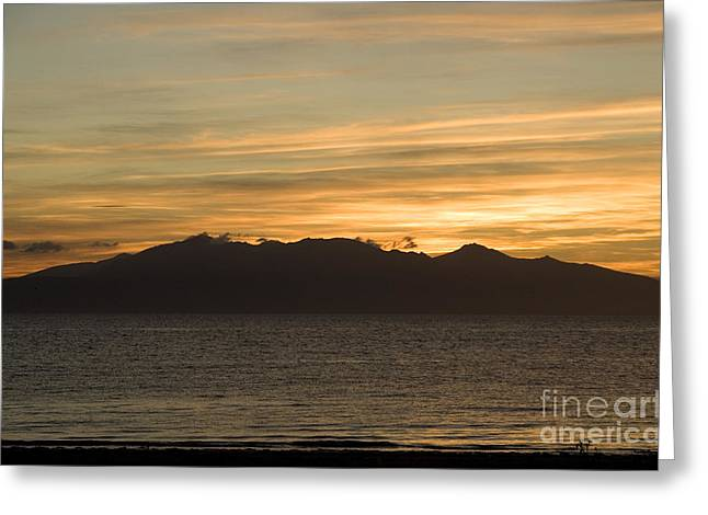 Europe Greeting Cards - Sunset over Arran Greeting Card by Liz Leyden