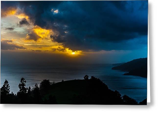 China Beach Greeting Cards - Sunset over Blue Greeting Card by Joseph Amaral