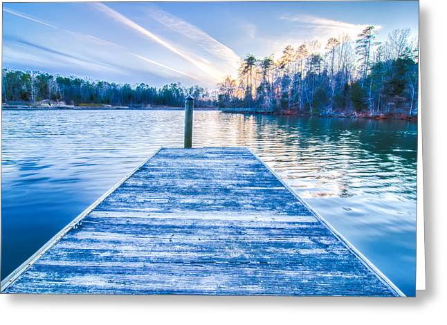 Lake Wylie Greeting Cards - Sunset Over Lake Wylie At A Dock Greeting Card by Alexandr Grichenko