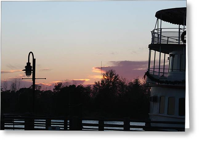 Cape Fear River Greeting Cards - Sunset Over the Cape Fear Greeting Card by Suzanne Gaff
