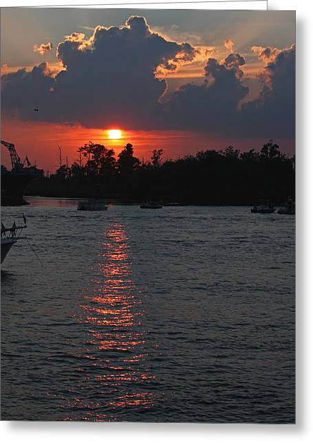 Cape Fear River Greeting Cards - Sunset Over the Cape Fear II Greeting Card by Suzanne Gaff