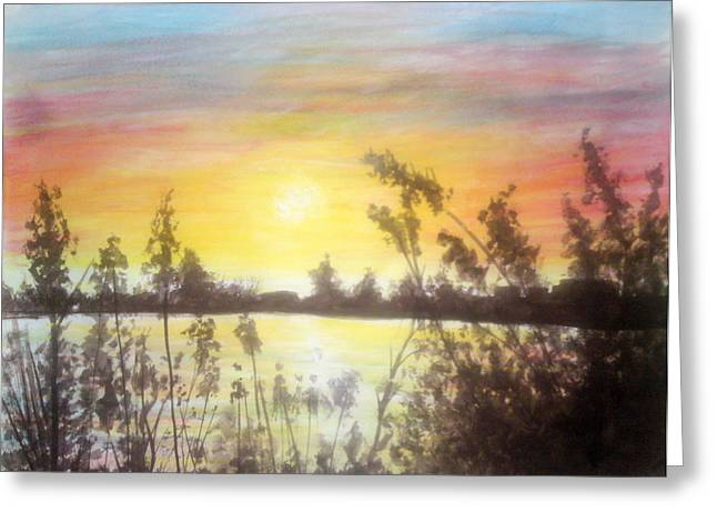 Amazing Sunset Paintings Greeting Cards - Sunset Over The Lake Greeting Card by Mohamed Elhafed Beldjarou