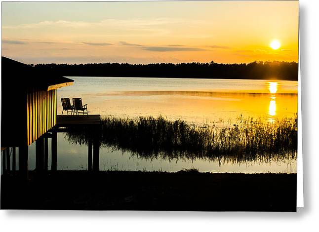 Florida House Greeting Cards - Sunset Over The Lake Greeting Card by Parker Cunningham