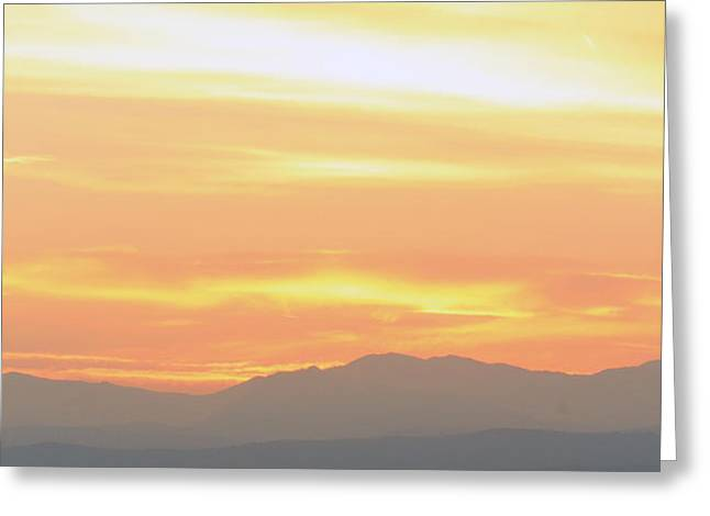 Sunset Over The Rockies Greeting Card by Emily Clingman