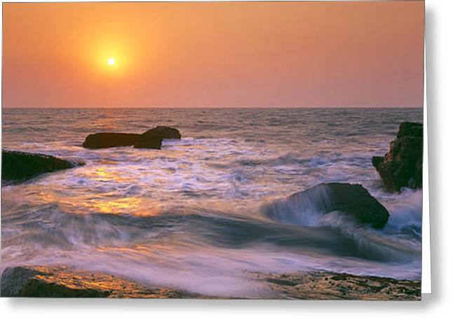 Arabian Sea Greeting Cards - Sunset Over The Sea, Goa, India Greeting Card by Panoramic Images