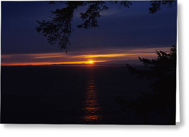 Reflections Of Sun In Water Greeting Cards - Sunset Over The Sea, Strait Of Juan De Greeting Card by Panoramic Images