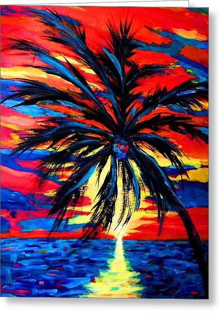 Surf Silhouette Paintings Greeting Cards - Sunset Palm Greeting Card by Jamie Frier