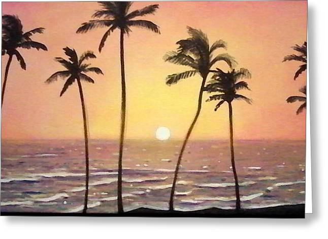 Rincon Paintings Greeting Cards - Sunset Greeting Card by Ramon Lopez Collazo