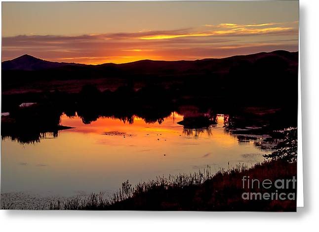 Idaho Scenery Greeting Cards - Sunset Reflection Greeting Card by Robert Bales