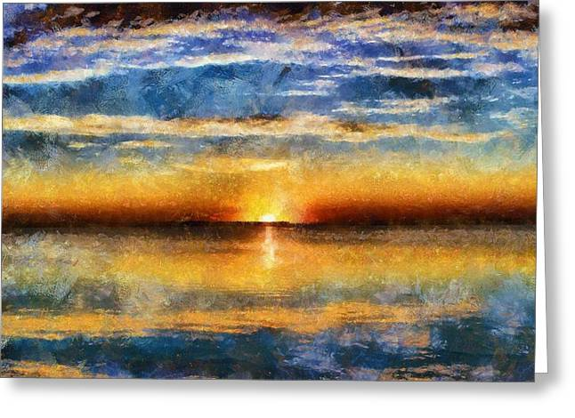 Heavenly Mixed Media Greeting Cards - Sunset Reflections Greeting Card by Dan Sproul