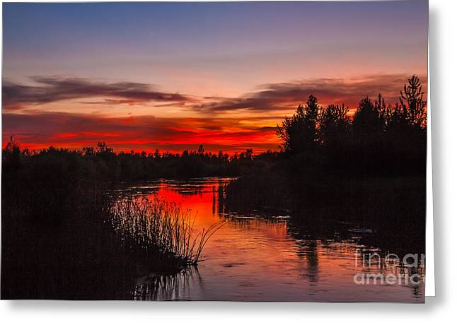 Treasure Valley Greeting Cards - Sunset Reflections Greeting Card by Robert Bales