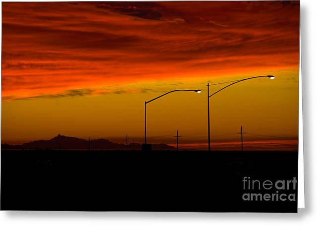Night Lamp Greeting Cards - Sunset Greeting Card by Richard and Ellen Thane