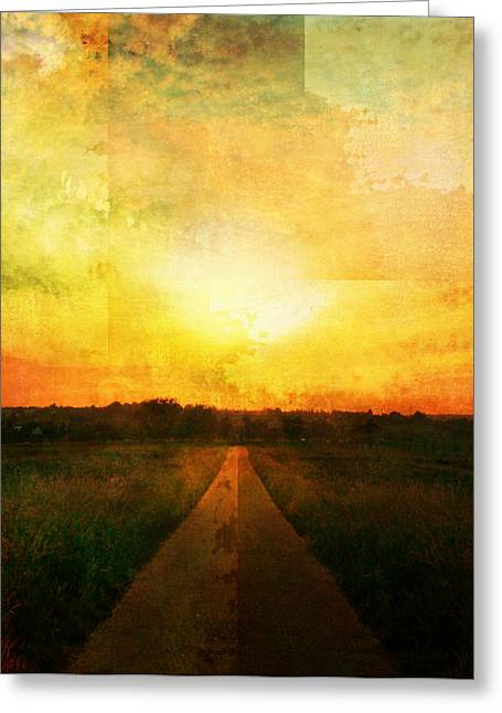 Epic Amazing Colors Landscape Digital Modern Still Life Trees Warm Natural Earth Organic Paint Photo Chic Decor Interior Design Brett Pfister Art Digital Art Digital Art Iphone Cases Greeting Cards - Sunset Road Greeting Card by Brett Pfister