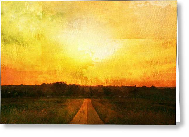 Sunset Road Greeting Card by Brett Pfister