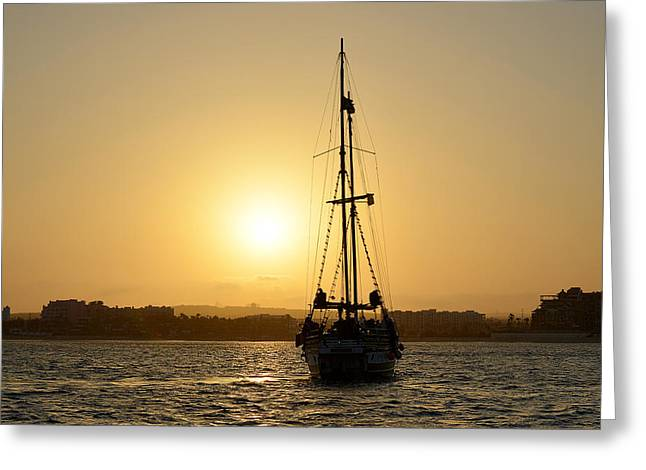 Buccaneer Greeting Cards - Sunset Sailing in Cabo Greeting Card by Christine Till