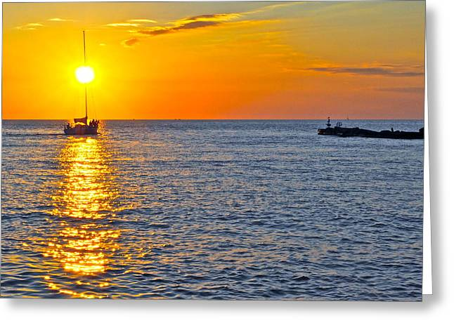 Amazing Sunset Greeting Cards - Sunset Sailing Greeting Card by Frozen in Time Fine Art Photography