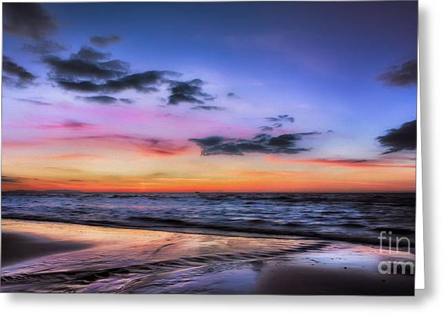 Nature Scene Digital Art Greeting Cards - Sunset Seascape Greeting Card by Adrian Evans