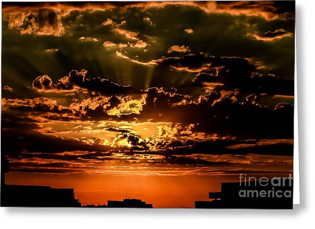 Metropolitan Pyrography Greeting Cards - Sunset Greeting Card by Tocila Mihaela Mariana