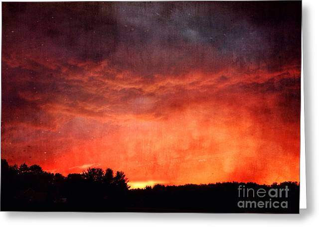 Sunset With Approaching Storm Greeting Card by HD Connelly
