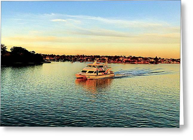 Yacht Greeting Cards - Sunset yacht Greeting Card by Girish J