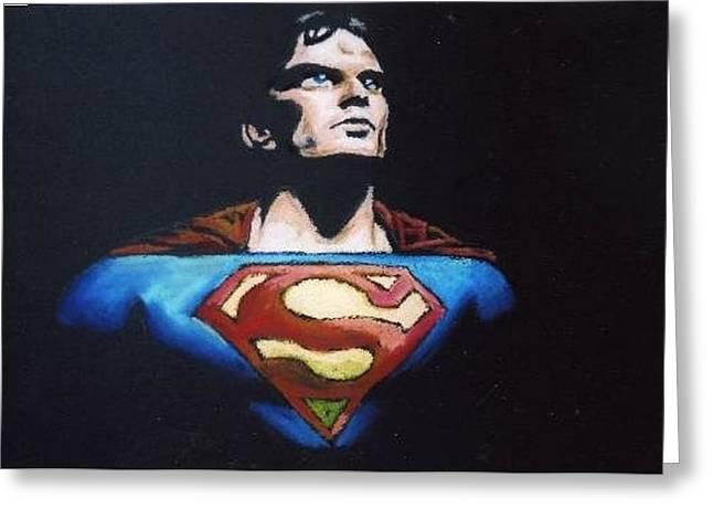 Heroes Pastels Greeting Cards - Superman Greeting Card by Daniel King