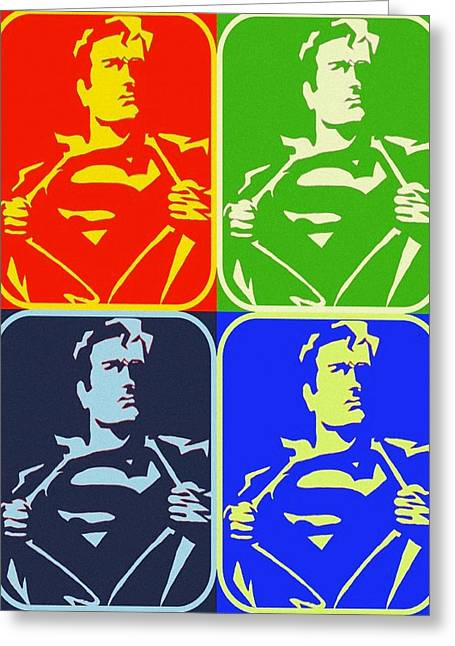 Gotham City Paintings Greeting Cards - Superman Taking It Off Greeting Card by Robert Margetts