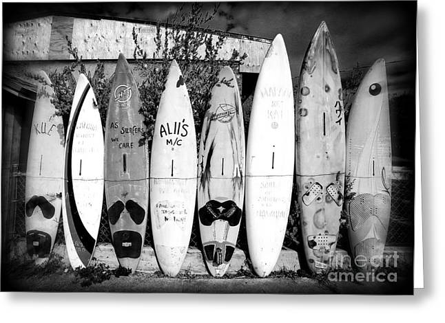 Resort Photographs Greeting Cards - Surf Board Fence Maui Hawaii Greeting Card by Edward Fielding