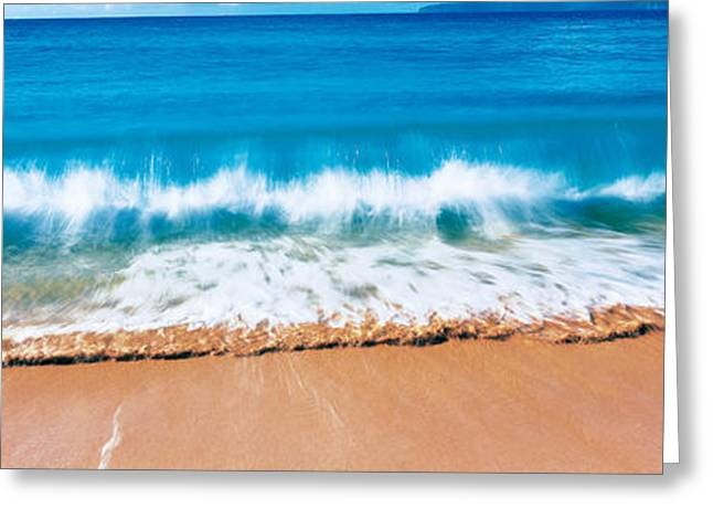 White Caps Greeting Cards - Surf Fountains Big Makena Beach Maui Hi Greeting Card by Panoramic Images