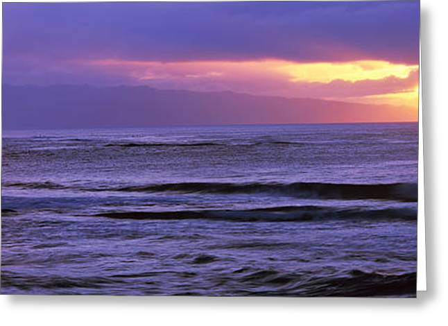 Ocean Photography Greeting Cards - Surf In The Ocean At Sunset, Oahu Greeting Card by Panoramic Images