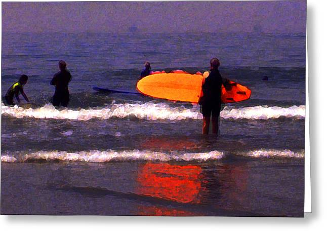 Beach In Santa Barbara Greeting Cards - Surf Lessons Greeting Card by Ron Regalado