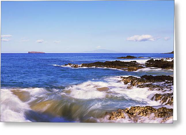 Rocky Beach Greeting Cards - Surf On The Coast, Maui, Hawaii, Usa Greeting Card by Panoramic Images