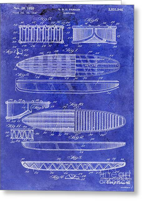 Hawaii Mixed Media Greeting Cards - Surfboard Patent Drawing 1950 Blue Greeting Card by Jon Neidert