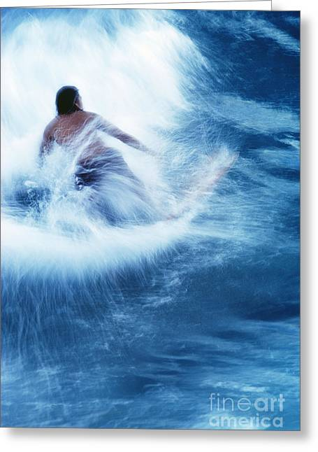 Surfer Carving On Splashing Wave, Interesting Perspective And Blur Greeting Card by Carl Shaneff