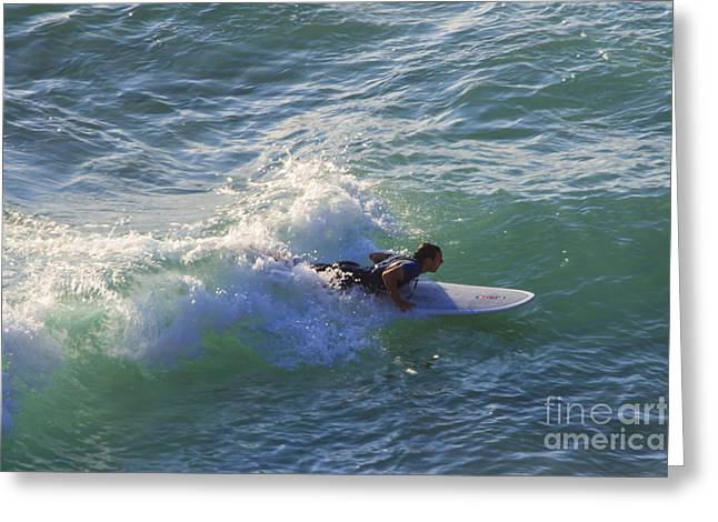 Surfing Porthtowan Greeting Cards - Surfer Chapel Porth Cornwall Greeting Card by Brian Roscorla