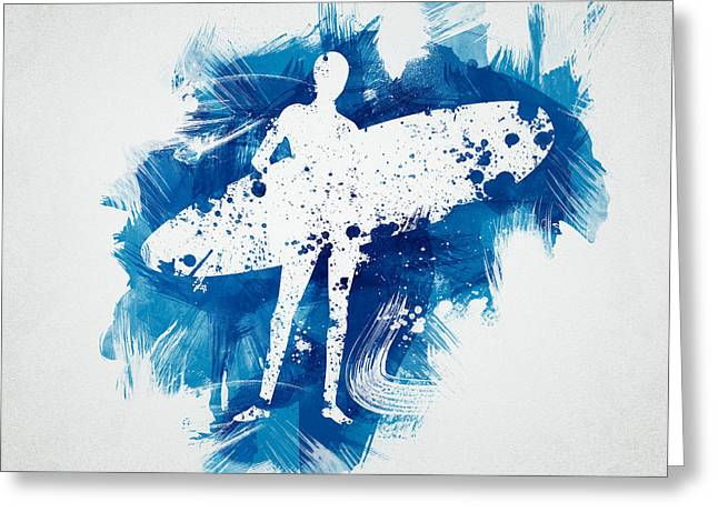 Shorebreak Greeting Cards - Surfer Girl Greeting Card by Aged Pixel